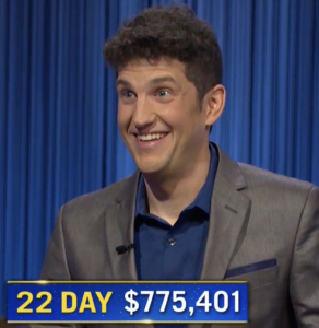 Matt Amodio, today's Jeopardy! winner (for the September 16, 2021 game.)