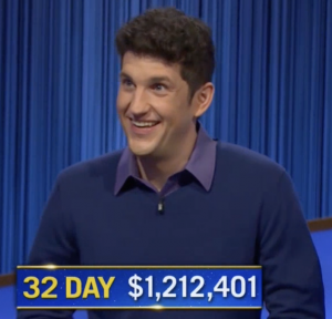 Matt Amodio, today's Jeopardy! winner (for the September 30, 2021 game.)