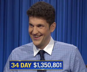 Matt Amodio, today's Jeopardy! winner (for the October 4, 2021 game.)
