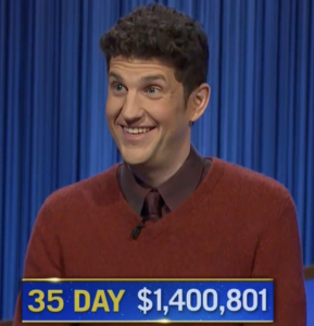 Matt Amodio, today's Jeopardy! winner (for the October 5, 2021 game.)
